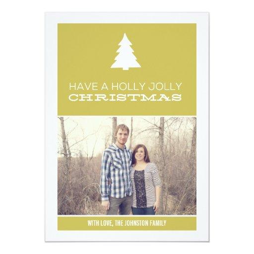 Tarjetas planas del acebo de la foto alegre verde invitación 12,7 x 17,8 cm