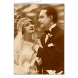 Tarjetas preciosas de novia y del novio de la anti