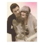 Tarjetas preciosas de novia y del novio de la anti postal