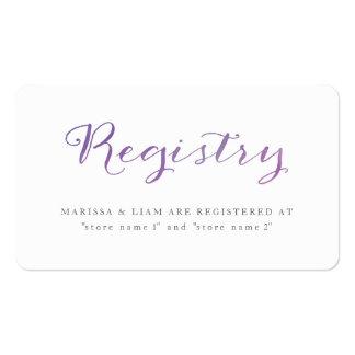 Tarjetas puras/violeta del registro de la acuarela tarjetas de visita