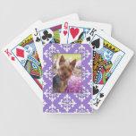Tarjetas púrpuras de la flor de lis a modificar baraja cartas de poker