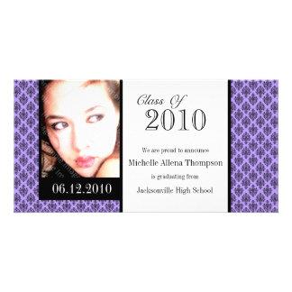 Tarjetas púrpuras de la foto de la invitación de tarjetas fotográficas personalizadas