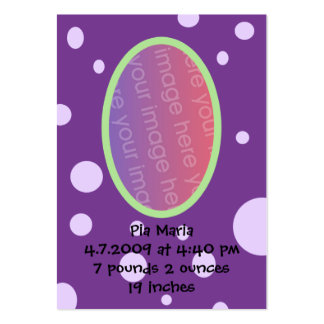 Tarjetas púrpuras de la invitación del nacimiento tarjetas de visita