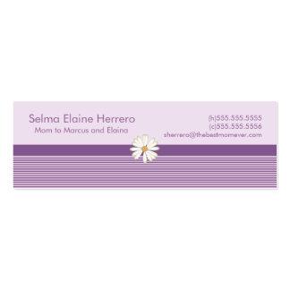 Tarjetas púrpuras de la mamá de la raya tarjetas de visita mini