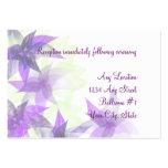 Tarjetas púrpuras de la recepción nupcial de las m tarjetas de visita