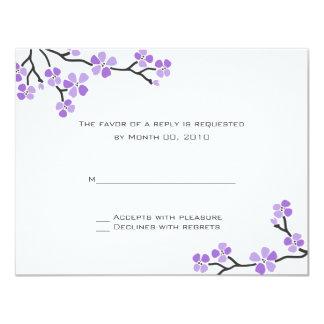 """Tarjetas púrpuras de RSVP de la flor de cerezo Invitación 4.25"""" X 5.5"""""""