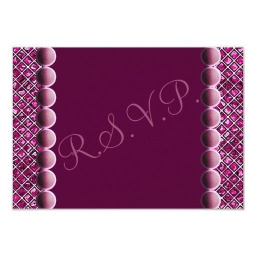 """Tarjetas púrpuras de RSVP de los corazones de los Invitación 3.5"""" X 5"""""""