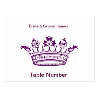 Tarjetas púrpuras del lugar de la recepción de la  plantilla de tarjeta personal