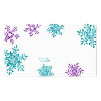 Tarjetas púrpuras del lugar del boda del invierno tarjetas de visita