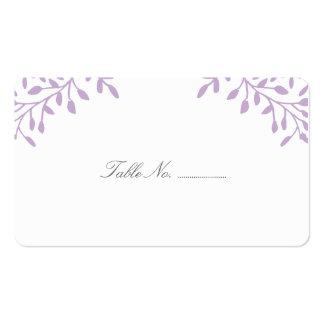 Tarjetas púrpuras del lugar del boda del jardín se