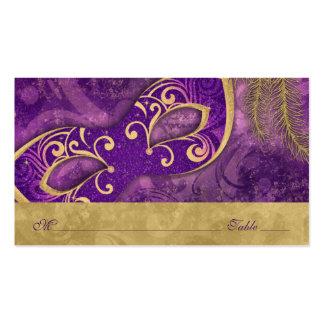 Tarjetas púrpuras del lugar del boda del oro de la tarjetas de visita