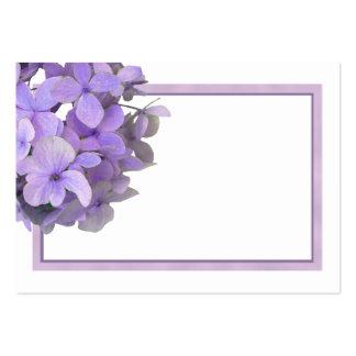 Tarjetas púrpuras del lugar del espacio en blanco tarjetas de visita grandes