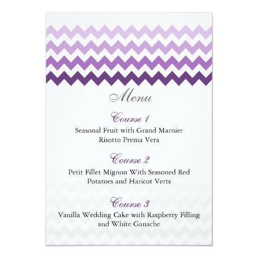 Tarjetas púrpuras del menú del boda de Ombre del Invitación 12,7 X 17,8 Cm