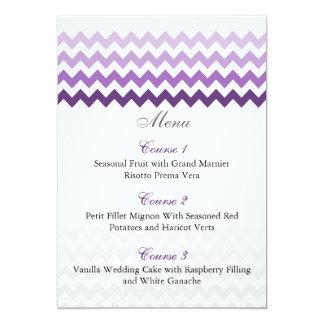 """Tarjetas púrpuras del menú del boda de Ombre del Invitación 5"""" X 7"""""""