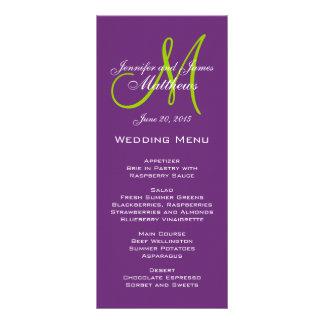 Tarjetas púrpuras del menú del boda del monograma tarjeta publicitaria personalizada