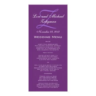 Tarjetas púrpuras del menú del boda del monograma lona personalizada