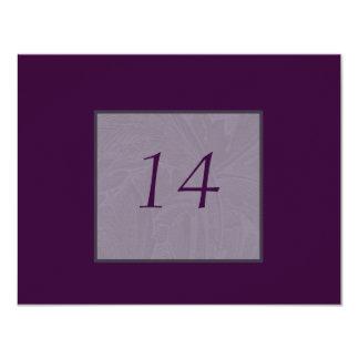 Tarjetas púrpuras del número de la tabla de invitación 10,8 x 13,9 cm
