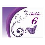 Tarjetas púrpuras del número de la tabla de postal