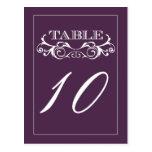 Tarjetas púrpuras del número de la tabla del boda  tarjeta postal