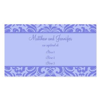 Tarjetas púrpuras del registro de regalos del boda tarjetas de visita
