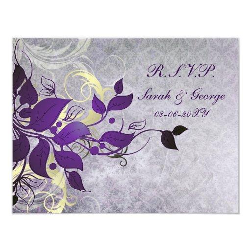 tarjetas púrpuras del rsvp del boda del invierno invitación 10,8 x 13,9 cm