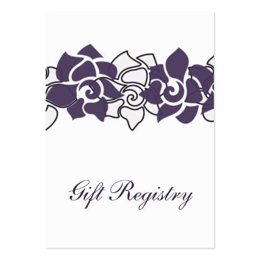 tarjetas púrpuras florales del registro de regalos tarjetas de visita grandes