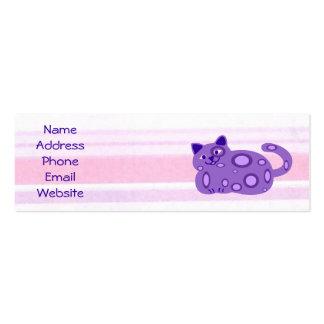 Tarjetas púrpuras gordas del perfil del gato tarjetas de visita mini