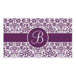Tarjetas púrpuras y blancas del registro de regalo tarjetas personales