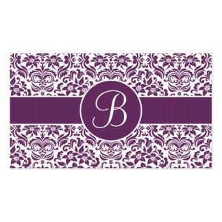 Tarjetas púrpuras y blancas del registro de tarjetas de visita