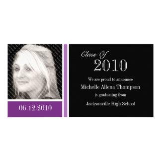Tarjetas púrpuras y negras de la foto de la tarjetas fotográficas