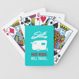 Tarjetas que acampan azules del campista rv de baraja de cartas bicycle