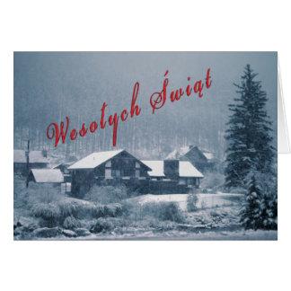 Tarjetas que caen de la nieve de Wesolych Swiat