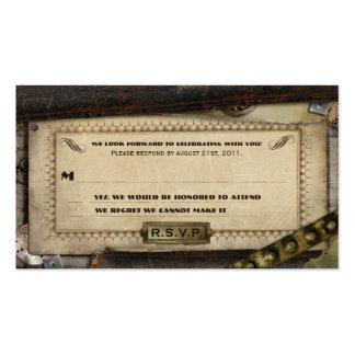 Tarjetas que se casan de cuero de Steampunk RSVP Tarjetas De Visita