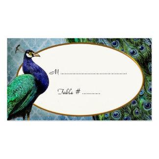 Tarjetas reales del lugar del azul de pavo real tarjetas de visita