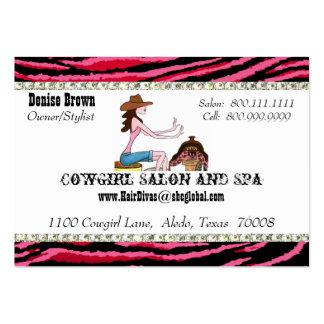 Tarjetas rechonchas del perfil de la vaquera del tarjetas de visita grandes
