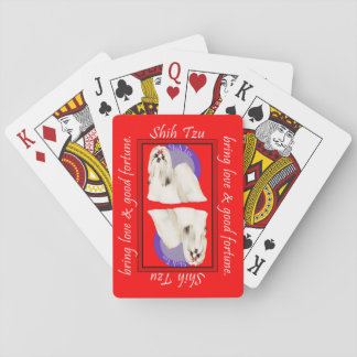 Tarjetas rojas afortunadas de Shih Tzu Baraja De Póquer