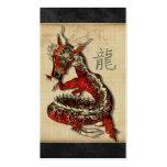 Tarjetas rojas chinas del perfil del dragón