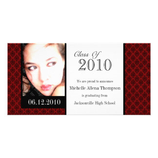 Tarjetas rojas de la foto de la invitación de la tarjeta fotográfica personalizada
