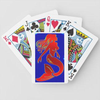 tarjetas rojas de la sirena barajas de cartas