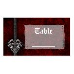 Tarjetas rojas de la tabla de la recepción del cor plantilla de tarjeta personal