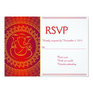 """Tarjetas rojas de RSVP de dios indio elegante de Invitación 5"""" X 7"""""""