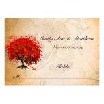 Tarjetas rojas del lugar de la tabla del árbol de  tarjeta personal