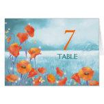 Tarjetas rojas del número de la tabla del boda de