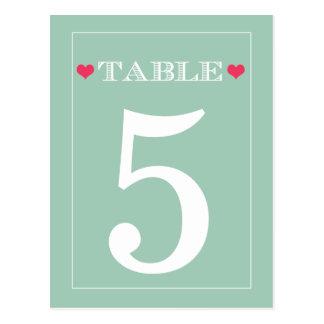 Tarjetas rojas del número de la tabla del boda de postal