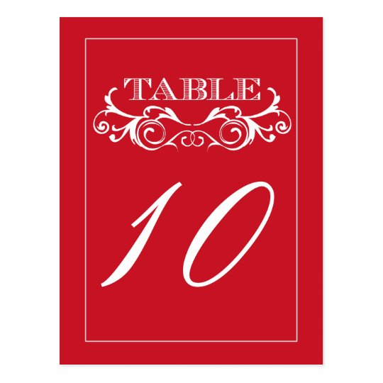 Tarjetas rojas del número de la tabla del boda del postal