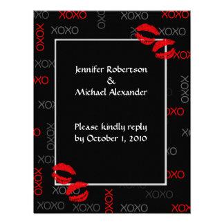 Tarjetas rojas negras de la respuesta del boda de invitación personalizada