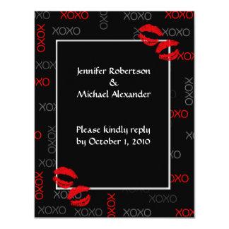 """Tarjetas rojas negras de la respuesta del boda de invitación 4.25"""" x 5.5"""""""