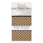 Tarjetas rojas y verdes de la foto del navidad de  plantilla para tarjeta de foto