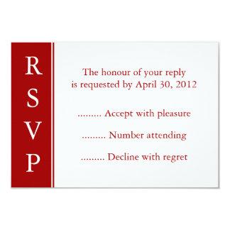 Tarjetas rojo oscuro de RSVP, de la respuesta o de Invitación