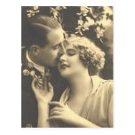 Tarjetas románticas antiguas de los pares del vint tarjeta postal